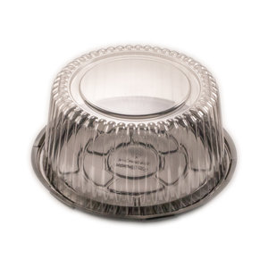 CLEAR CAKE DOME AND BLACK BASE LARGE