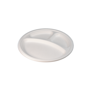 "iK-EC3PLT Plate 10"" 3 Compartment Round White"